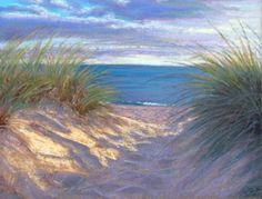 Love this painting. Cape Cod Path to the Beach. Maybe incorporate some sunset colors to get more pink/peach in there.