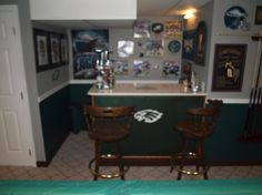 My Eagles Man Cave, It took me 72 hours to turn this plain white basement into this Eagles man cave. Lots of small details that is placed through out the room. , Basements Design