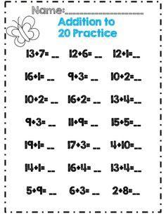 addition to 20 practice part of 30 page math and ela packet for 1st grade spring: