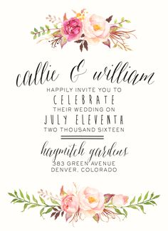 Watercolor Floral Wedding Invitation by SplashOfSilver // Rustic, Boho Chic // Beautiful for a Spring/Summer wedding! Gorgeous detailing :)