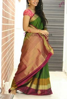 Digital Printed Bamboo Silk Saree in Green Color. This Drape is Enhanced with Digital Print, Available with an Unstitched Bamboo Silk Blouse in Digital Printed. Blouse Length- 13 to 14 inches and Sleeve Len Buy Designer Sarees Online, Indian Silk Sarees, Simple Sarees, Saree Dress, Party Wear Sarees, Beautiful Saree, Indian Designer Wear, Saree Blouse Designs, Indian Outfits