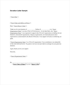 Thank You Letters For Donation Free Sample Example Format Letter