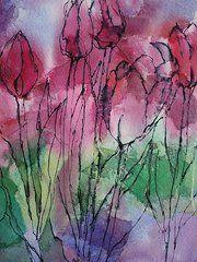 Watercolor Tulips Paintings - Tulip Time by Tara Moorman