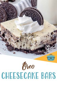 These Oreo Cheesecake Bars are creamy, tasty and filled with lots of Oreo cookies. An easy and fun dessert recipe the whole family will enjoy! Best Dessert Recipes, Candy Recipes, Easy Desserts, Vanilla Whipped Cream, Whipped Topping, Oreo Cheesecake Bars, Chocolate Graham Crackers, Graham Cracker Crumbs, Oreo Cookies