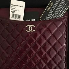 "CHANEL BORDEAUX CLAIR QUILTED IPAD SLEEVE NWT box Chanel patent leather quilted Bordeaux Clair IPad Sleeve.  W 8.5"" H 10.5"" NWT & all tags and original box. CHANEL Accessories Laptop Cases"