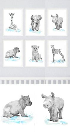 Neutral Nursery Decor Safari Art Set of 6 Prints Baby Watercolor Painting Boy Girl Animals Gray Blue Wall art Watercolour Print Painting Set of 6 prints - high quality fine art prints of my original watercolor painting. It is the work of a watercolor series Portraits of the Heart Size