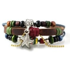 Graduation Gift:Starfish Beaded Leather Zen Bracelet, Fits 6 to 9 Inches for Men, Women, Teens, Boys and Girls in Gift Box