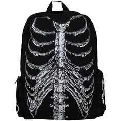 Banned Skeleton Backpack (€31) ❤ liked on Polyvore featuring bags, backpacks, accessories, bags/purses, bolsas, gray backpack, white backpack, daypacks, grey backpack en grey diaper bag