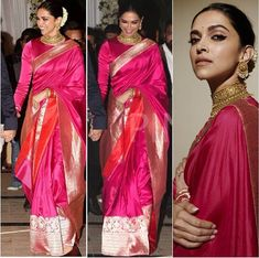 A melange of traditional weaves and vibrant pop of colour, looks resplendent in this saree by Jewellery:… Deepika Padukone Saree, Rekha Saree, Banarsi Saree, Lehenga, Sabyasachi, Silk Sarees, Indian Bridal Outfits, Indian Bridal Fashion, Indian Designer Outfits