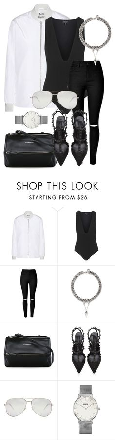 """#700"" by blendingtwostyles ❤ liked on Polyvore featuring Acne Studios, Topshop, Ela Stone, Givenchy, Valentino, Yves Saint Laurent and CLUSE"