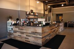 Milstead Coffee bar out of barn wood/