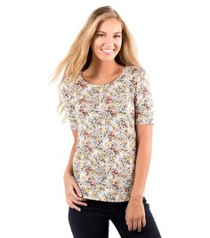 The sleeve length is perfect and the print is fun floral.