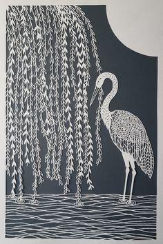 Stork and Willow Tree Original Papercut