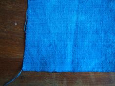 Hand dyed blue handwoven antique linen fabric crafting by Octavi, $17.50