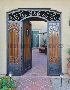 Security Screen Doors and Iron Gates Now Available in Dallas, TX! Wrought Iron Decor, Wrought Iron Gates, Entry Gates, Entry Doors, Steel Security Doors, Security Screen, Tor Design, Modern Exterior Doors, Door Gate Design