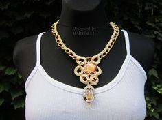Ivory Cream Boho Chic Necklace Chain Necklace Pendant by MARTINELI, $35.00