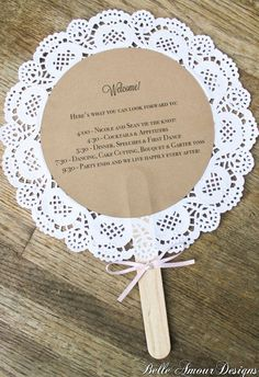 diy wedding decorations 814799757561849559 - doily wedding program fans, custom vintage-inspired wedding decor and accessories, handmade decor and accessories for life's special moments, Belle Amour Designs Source by lolottewine Doily Wedding, Our Wedding, Dream Wedding, Trendy Wedding, Wedding Vintage, Wedding Summer, Diy Wedding Fans, Wedding Blog, April Wedding