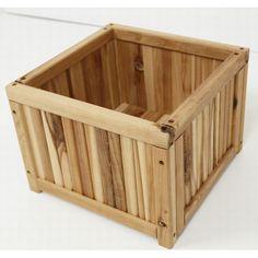 サイプレス製木製 プランターカバープランターケース フラワーボックス【小】(幅310×奥行310×高さ220mm)(約3kg)