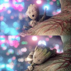 Sleepy Baby Groot and Drax Baby Groot, Marvel Dc Comics, Marvel Avengers, Baby Marvel, Gardians Of The Galaxy, Dibujos Anime Chibi, I Am Groot, Marvel Memes, Marvel Characters