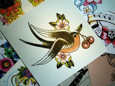 Swallow and Cherry Vintage Tattoo Birthday Card