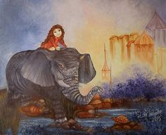 Girl paintingElephant  painting oil canvas Elephant  wall art