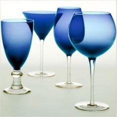 cobalt blue glassware   Blue Swirl Glasses from Macy's, Cobalt Stemware from The Glassware ...