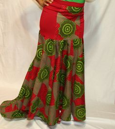 Knit wool and African print Long Skirt by Beauje on Etsy, $65.00