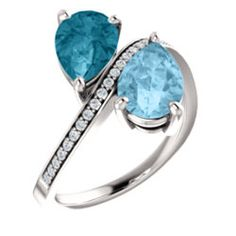 2 stone Aquamarine pear fashion by Stuller Available at Jewelry Savers