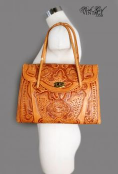 For my Mom! She would like this 1950's Big Tan Embossed Leather Western Purse Bag - still in style today!
