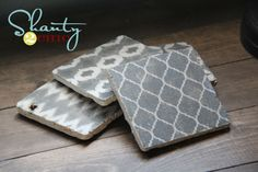diy coasters! With tumbled marble tiles, mod podge--sealer and some felt pads as to not scratch! cute! Printable designs too