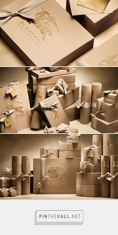 The Festive Book of Gifts | Burberry curated by Packaging Diva PD. Gorgeous hand tied gifts in embellished boxes.