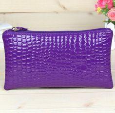 Hot sale fashion women bag 7 colors Alligator grain long square style zipper change