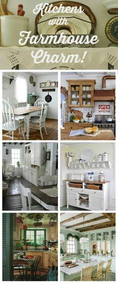 Farmhouse Kitchens with Charm & Function via Knick of Time at http://KnickofTime.net