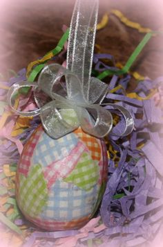 Checkered Decoupaged Pastel Easter Eggs by WreathsByKari on Etsy, $3.50