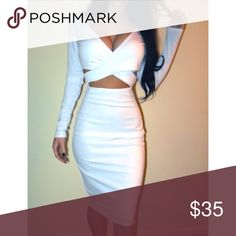 White Twist-Front Dress One left in white. Really cute and classy, comes brand new with tags from my shop. Size Medium & stretchy. Dresses Midi