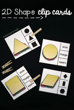 2D Shape Sandwich Clip Cards. Swoon! Such a fun shape game for preschool or kindergarten. I love that it includes a picture and word option.