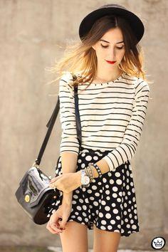 #lookSly blusa de listras e saia de poás