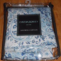 """CYNTHIA ROWLEY QUINCY MEDALLION BLUE WHITE FABRIC SHOWER CURTAIN TAN BATH 72"""" #CynthiaRowley"""