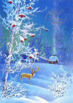 Сказочная зима: деревенская избушка и лесной олень
