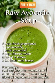 I love avo and have never thought about using it in a soup. This Raw Avocado Soup, sounds like a great addition to my new healthy eating plan. Vegan Soups, Raw Vegan Recipes, Healthy Recipes, Healthy Soup, Whole Food Recipes, Soup Recipes, Cooking Recipes, Drink Recipes, Vitamix Recipes