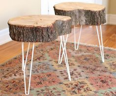 How to Make a Wood Slab Into a Coffee Table Log End Tables, Log Table, Wood Slab Table, Rustic End Tables, Tree Table, Wooden Tables, Side Tables, Coffee Tables, Tree Stump Side Table