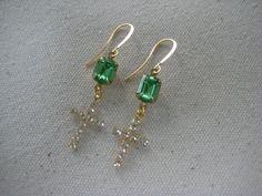 Earrings, Vintage Peridot Green Preciosa Rhinestone Octagon, Vintage Rhinestone Crosses Faceted Czech Glass, Gold Tone /E66