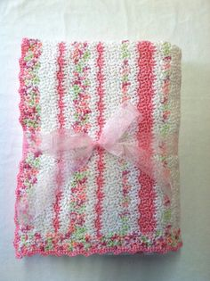 Large Crochet Baby Blanket in Stripes of Pink and Lime Green//Pink Variegated on White