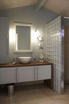 Single wall of glass bricks. Glass Block Shower, Glass Brick, Laundry Room Bathroom, Bathrooms, Vintage Room, Bathroom Organization, Bathroom Ideas, House, Home Decor