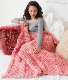 Big Cables Throw Free Knitting Pattern in Red Heart Yarns