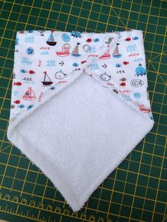 These little bandana bibs are so cute and great for little dribblers!  Measurements included for cutting your own pattern.