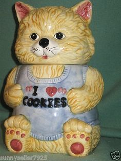 "Ceramic Kitty Cat Cookie Jar "" I Love Cookies"" 