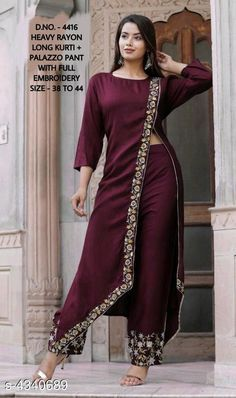 Pretty Maroon Embroidered Rayon Women Kurta Pant Set Source by dresses indian Designer Party Wear Dresses, Kurti Designs Party Wear, Indian Designer Outfits, Indian Outfits, Designer Kurtas For Women, Kurta Designs Women, Kurti Neck Designs, Blouse Designs, Stylish Dress Designs