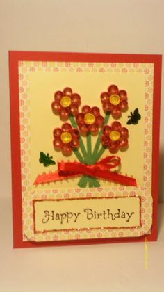Birthday card quilled, paper quilling, handmade quill birthday card, covered with a flower arrangement