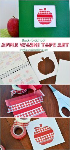 Back to School Apple Washi Art